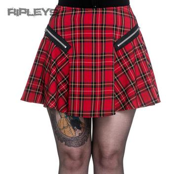HELL BUNNY Black Mini EXCILE SKIRT Punk Goth TARTAN Red Zip All Sizes
